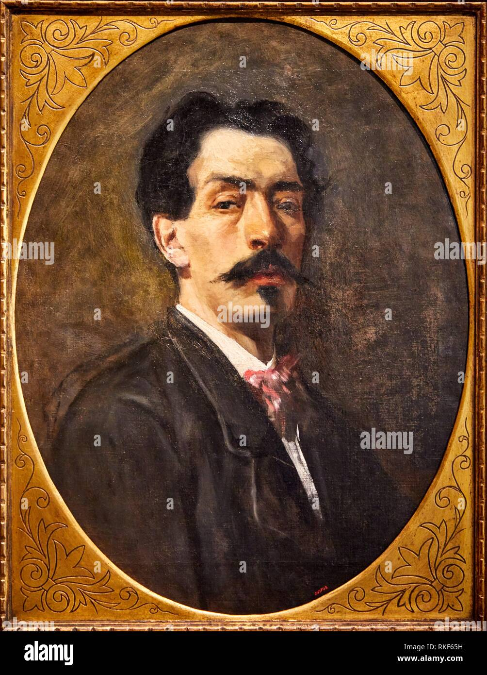 '''Self-portrait'', c. 1885, Attributed to Joaquim Agrassot, National Museum of Catalan Art, Museu Nacional d Art de Catalunya, MNAC, Barcelona, - Stock Image
