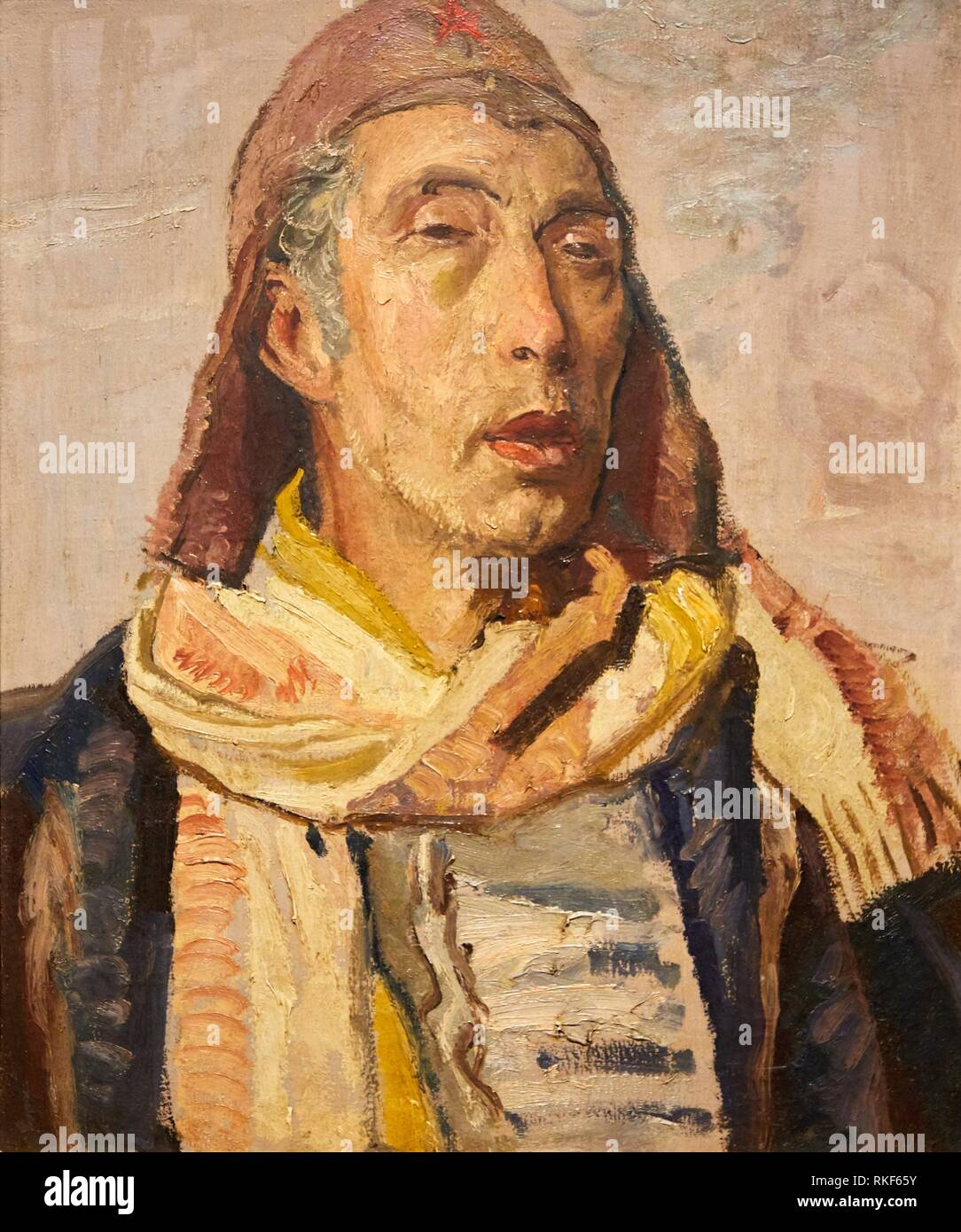 '''Self-portrait as a Soldier in the People's Army'', c.1938, Pere Daura, National Museum of Catalan Art, Museu Nacional d Art de Catalunya, MNAC, - Stock Image