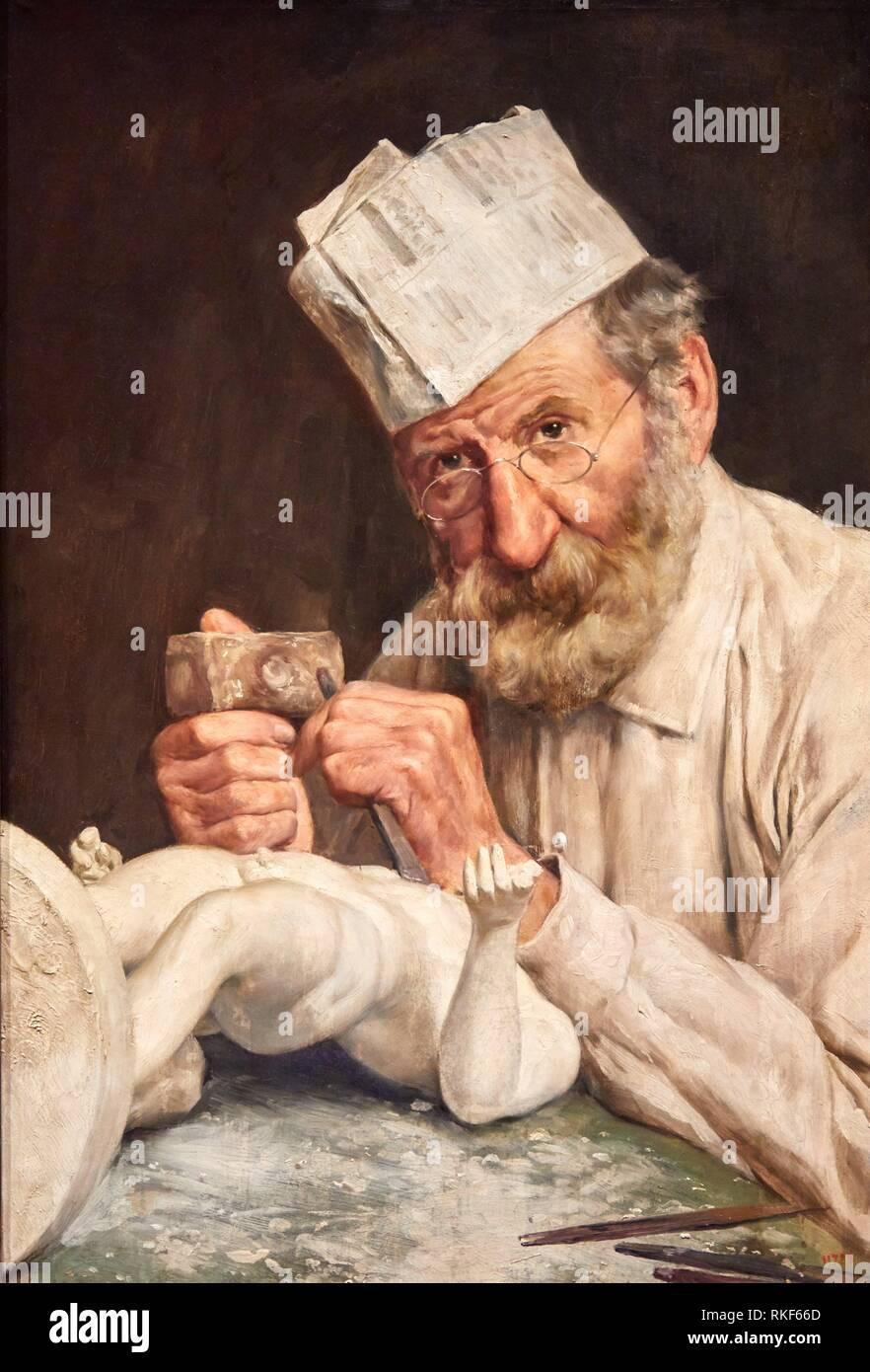 '''The Sculptor'', c. 1911, Antoni Fabrés, National Museum of Catalan Art, Museu Nacional d Art de Catalunya, MNAC, Barcelona, Spain, Europe - Stock Image