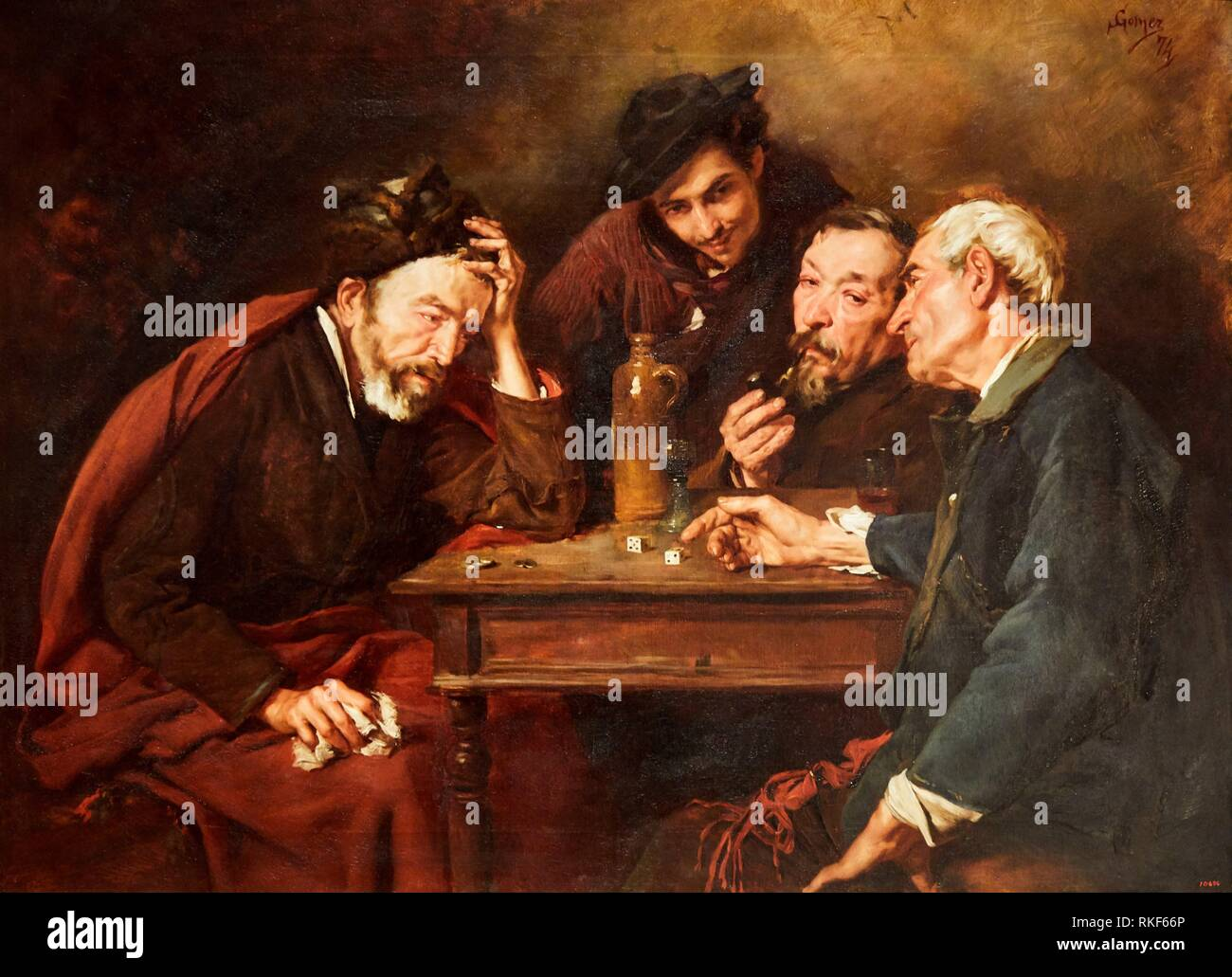 '''The Dice Players'', 1874, Simó Gómez, National Museum of Catalan Art, Museu Nacional d Art de Catalunya, MNAC, Barcelona, Spain, Europe - Stock Image