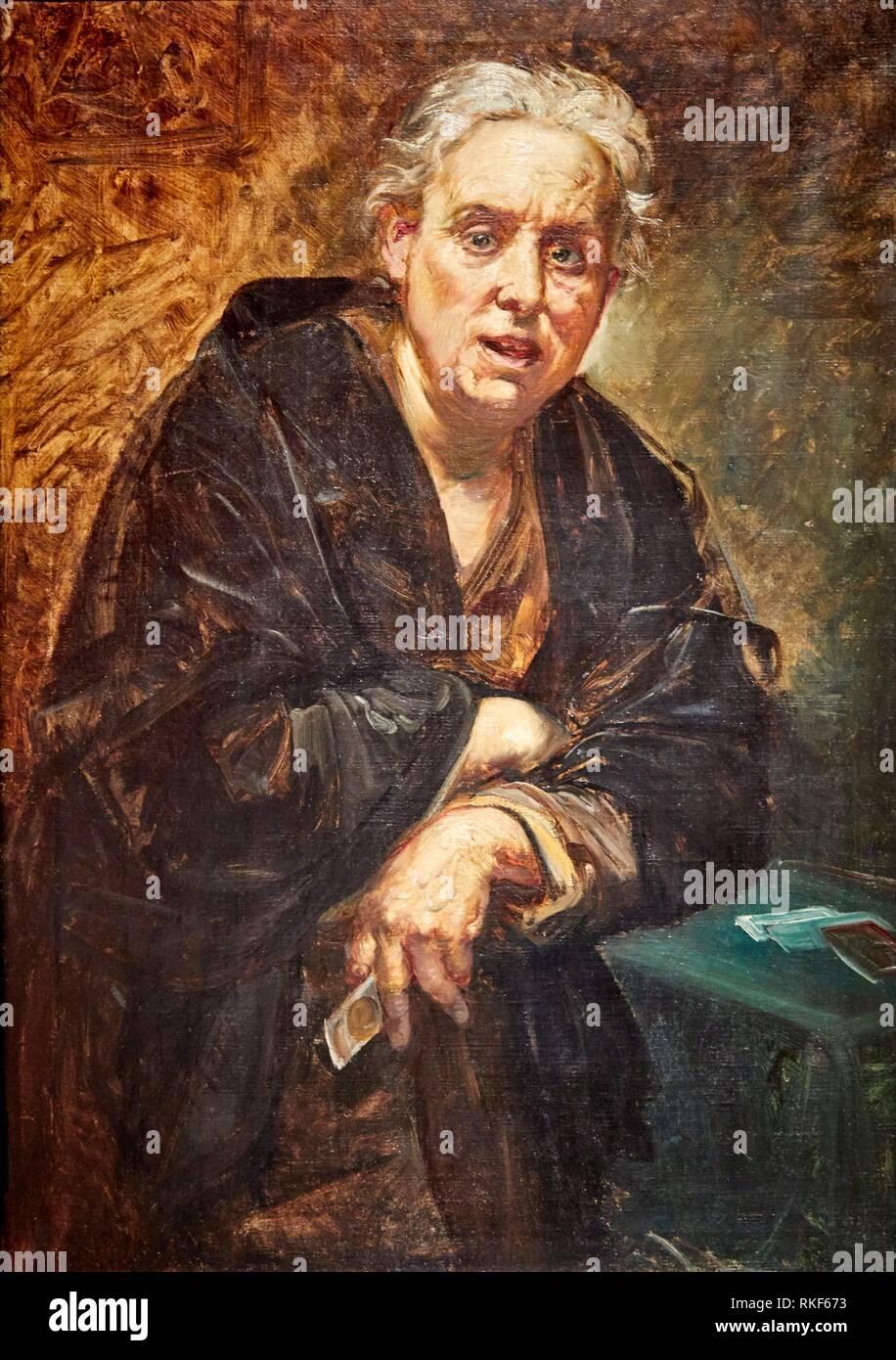 '''The Fortune Teller'', c. 1873, Ramon Martí i Alsina, National Museum of Catalan Art, Museu Nacional d Art de Catalunya, MNAC, Barcelona, Spain, - Stock Image