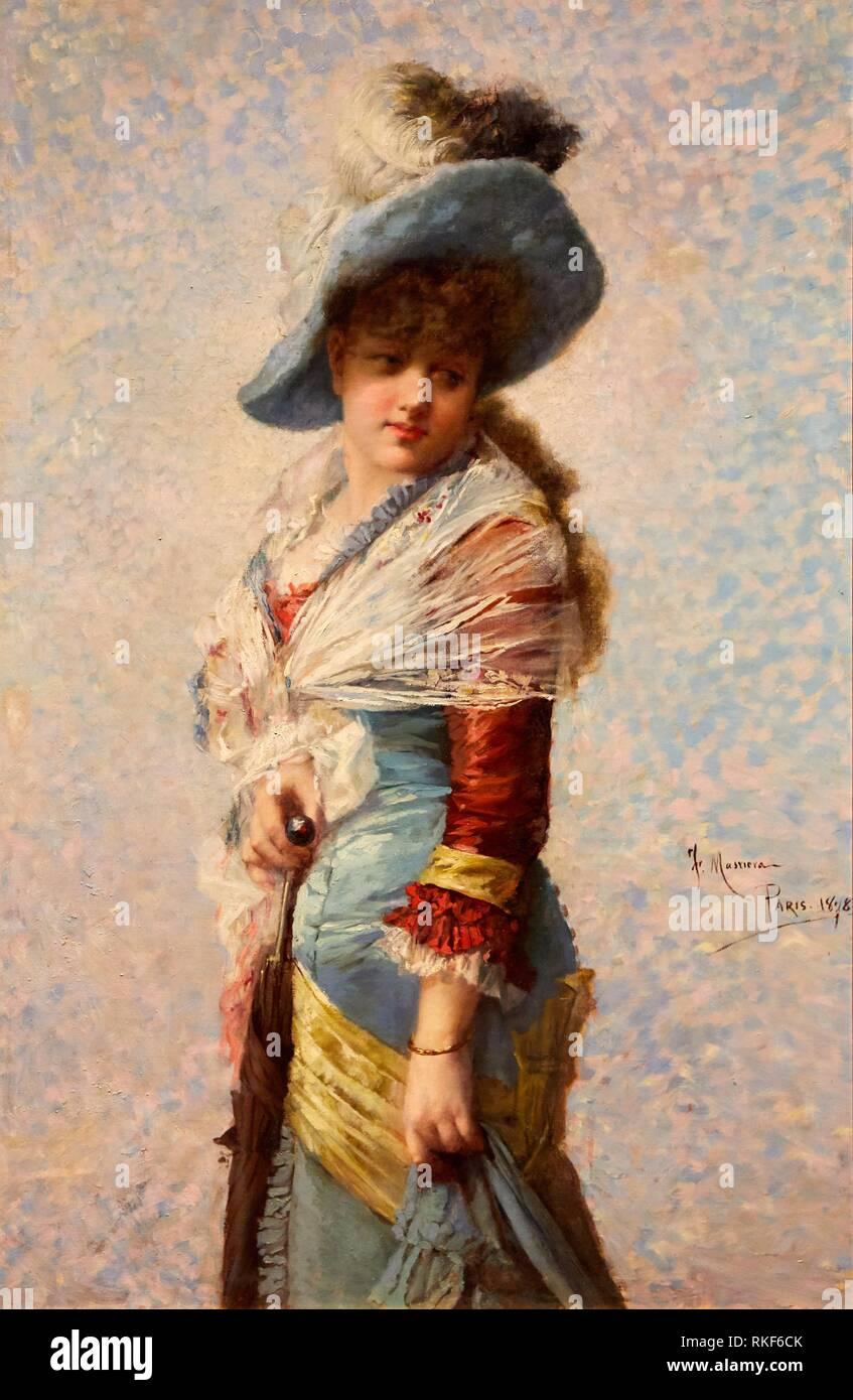 '''Portrait of a Woman with a Shawl, a Hat and a Parasol'', 1878, Francesc Masriera, National Museum of Catalan Art, Museu Nacional d Art de - Stock Image