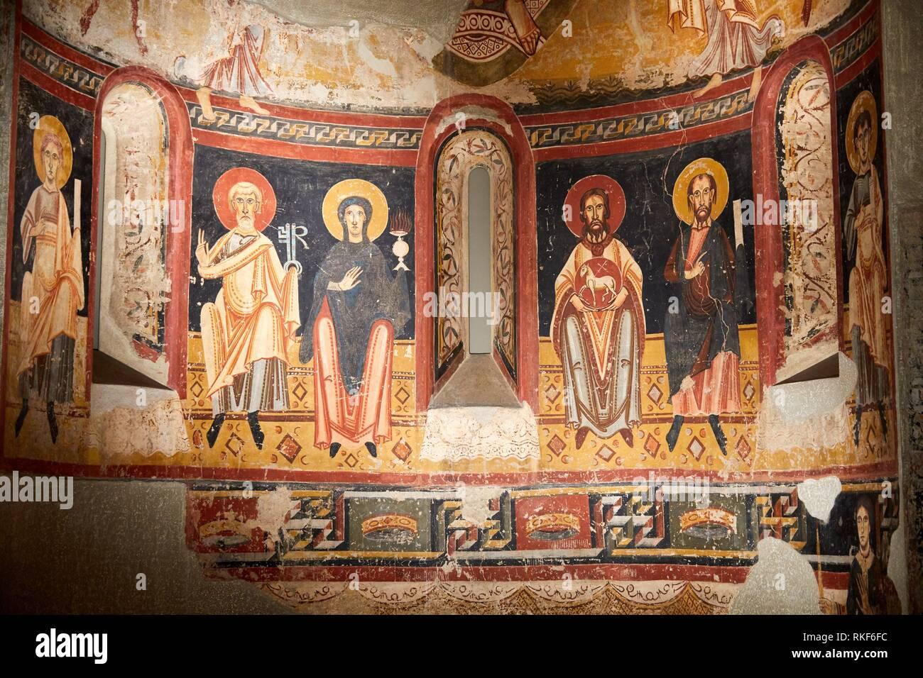 Apse of Burgal, S. XI-XII, Master of Pedret, Medieval Romanesque paintings, National Museum of Catalan Art, Museu Nacional d Art de Catalunya, MNAC, Stock Photo