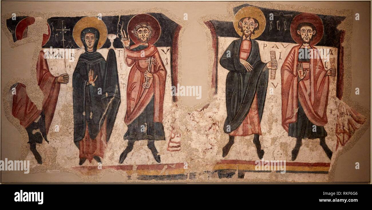 '''Apostles from Sant Romà de les Bons'', Master of Santa Coloma d´Andorra, Medieval Romanesque paintings, National Museum of Catalan Art, Museu - Stock Image