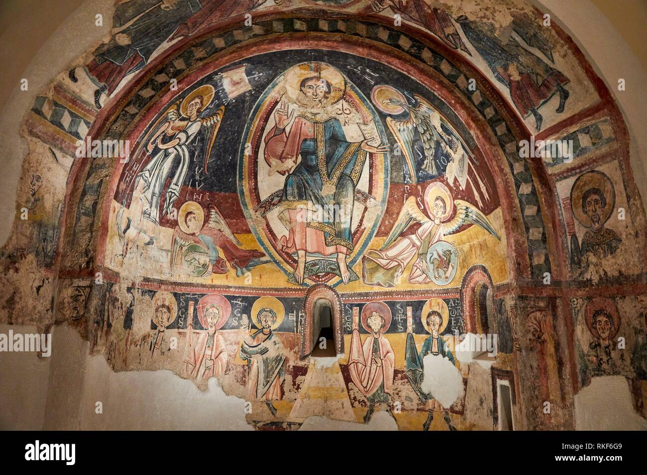 '''Apse of Engolasters'', Master of Santa Coloma d'Andorra, Medieval Romanesque paintings, National Museum of Catalan Art, Museu Nacional d Art de - Stock Image