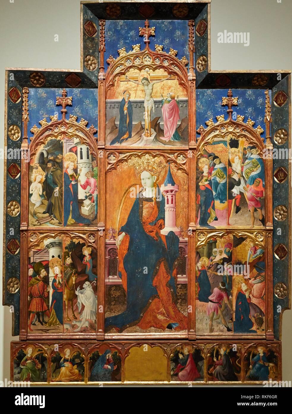 '''Altarpiece of Saint Barbara'', c. 1410-1425, Gonçal Peris Sarrià, Medieval Gothic paintings, National Museum of Catalan Art, Museu Nacional d Art - Stock Image