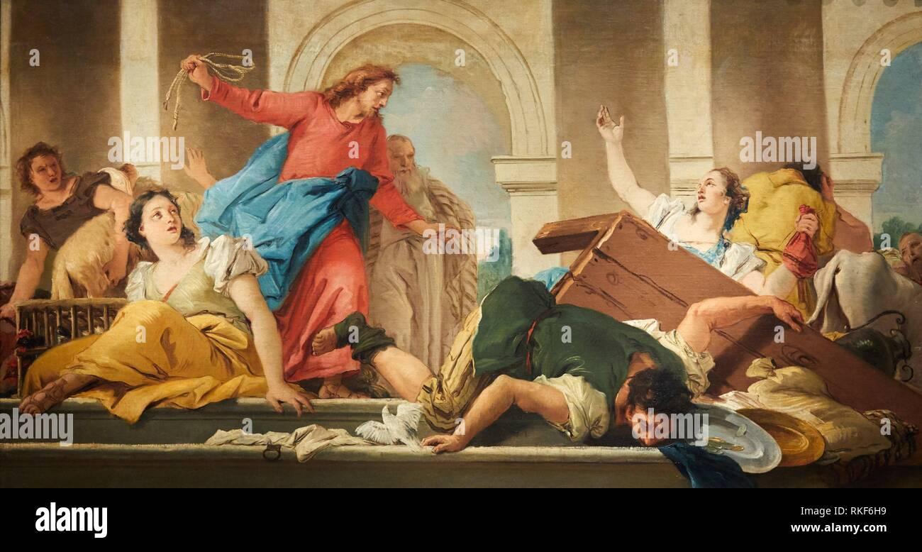 '''Expulsion of the Traders from the Temple'', 1750-1753, Giandomenico Tiepolo, National Museum of Catalan Art, Museu Nacional d Art de Catalunya, - Stock Image