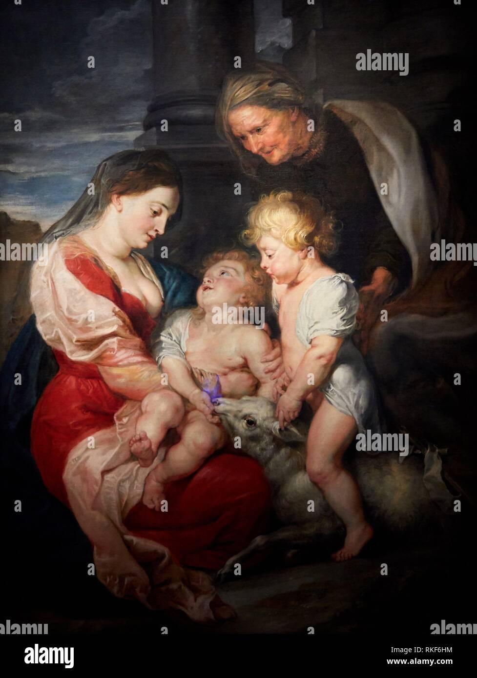 '''Virgin and Child with Saint Elizabeth and the Young Saint John'', c. 1618, Peter Paulus Rubens, National Museum of Catalan Art, Museu Nacional d - Stock Image