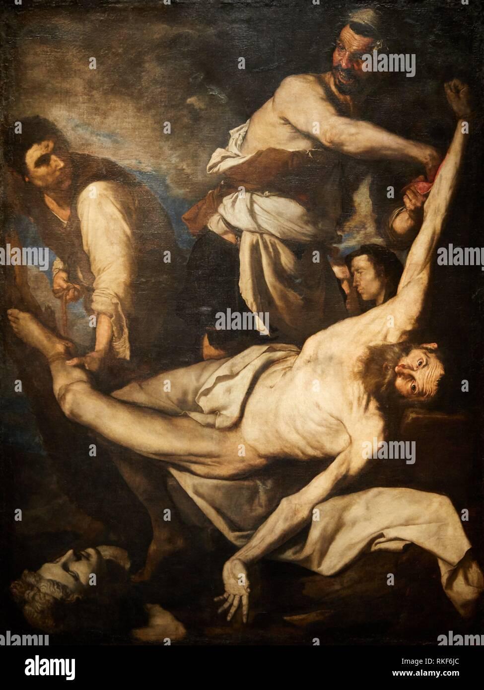 '''Martyrdom of Saint Bartholomew'', 1644, Josep de Ribera o Joseph de Ribera, dit ''Lo Spagnoletto'', National Museum of Catalan Art, Museu Nacional - Stock Image