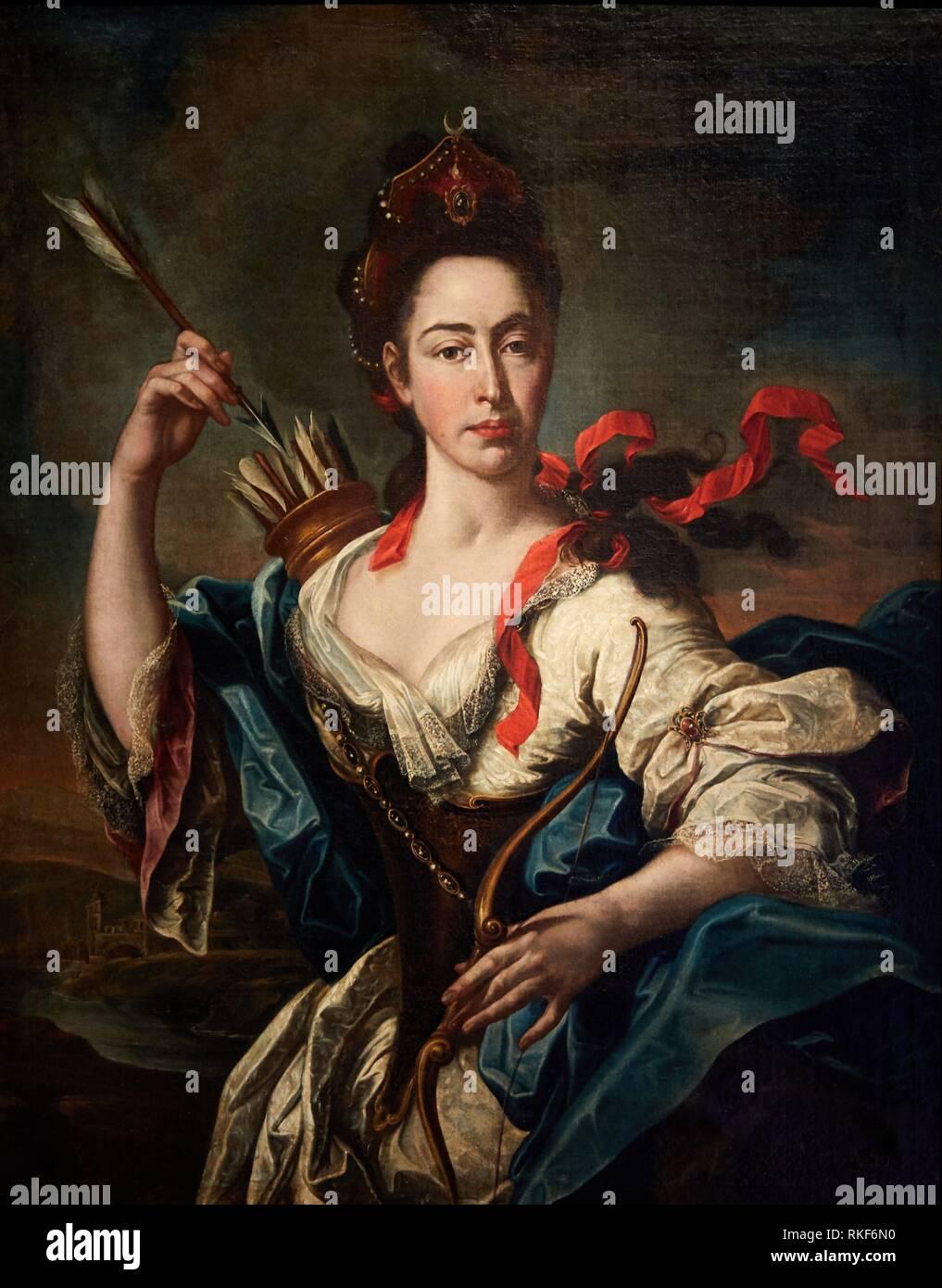 '''Portrait of a Woman with Attributes of Diana'', 1725, Pere Crusells, National Museum of Catalan Art, Museu Nacional d Art de Catalunya, MNAC, - Stock Image