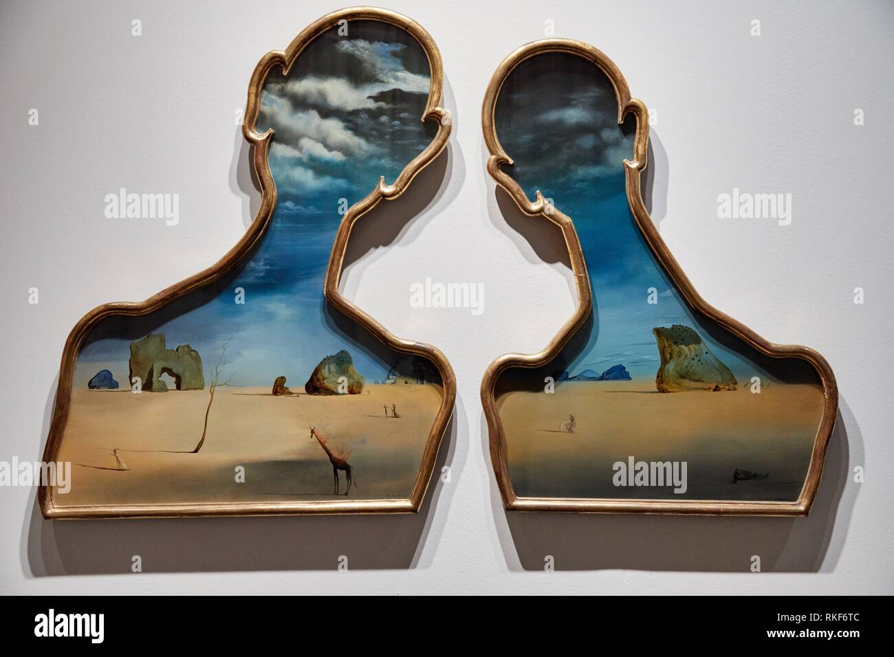 '''Untitled. Couple with their heads full of clouds'', 1937, Salvador Dalí, Exhibition ''Gala Salvador Dalí. A Room of One's Own in Púbol'', National - Stock Image