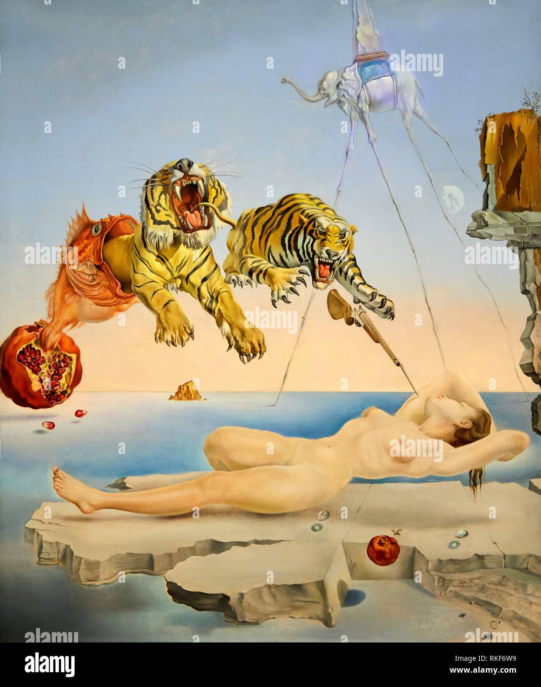 '''One Second Before the Awakening from a Dream Provoked by the Flight of a Bee Around a Pomegranate'', 1944, Salvador Dalí, Exhibition ''Gala - Stock Image