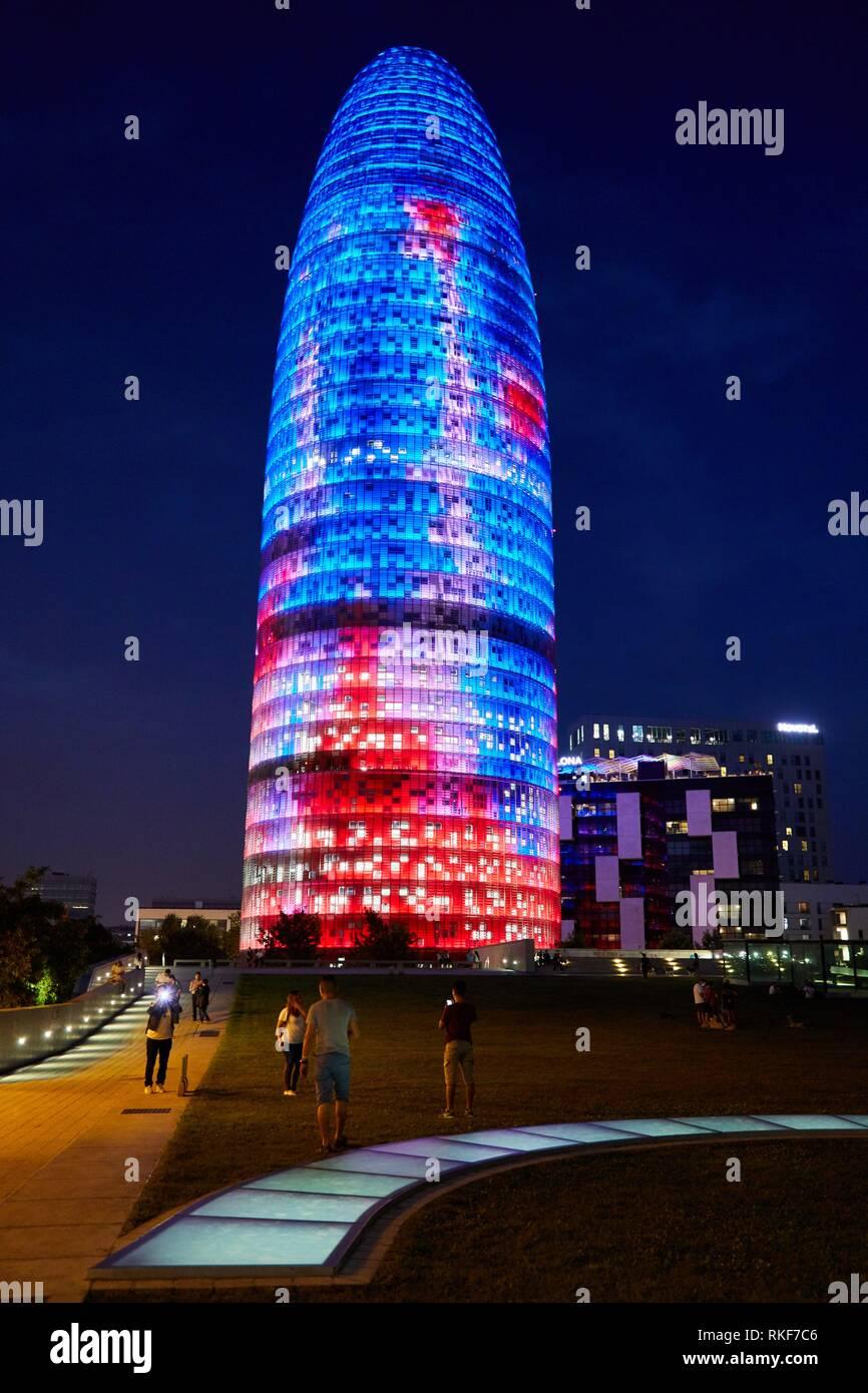 Agbar Tower, Plaça de les Glòries, Barcelona, Catalunya, Spain, Europe - Stock Image