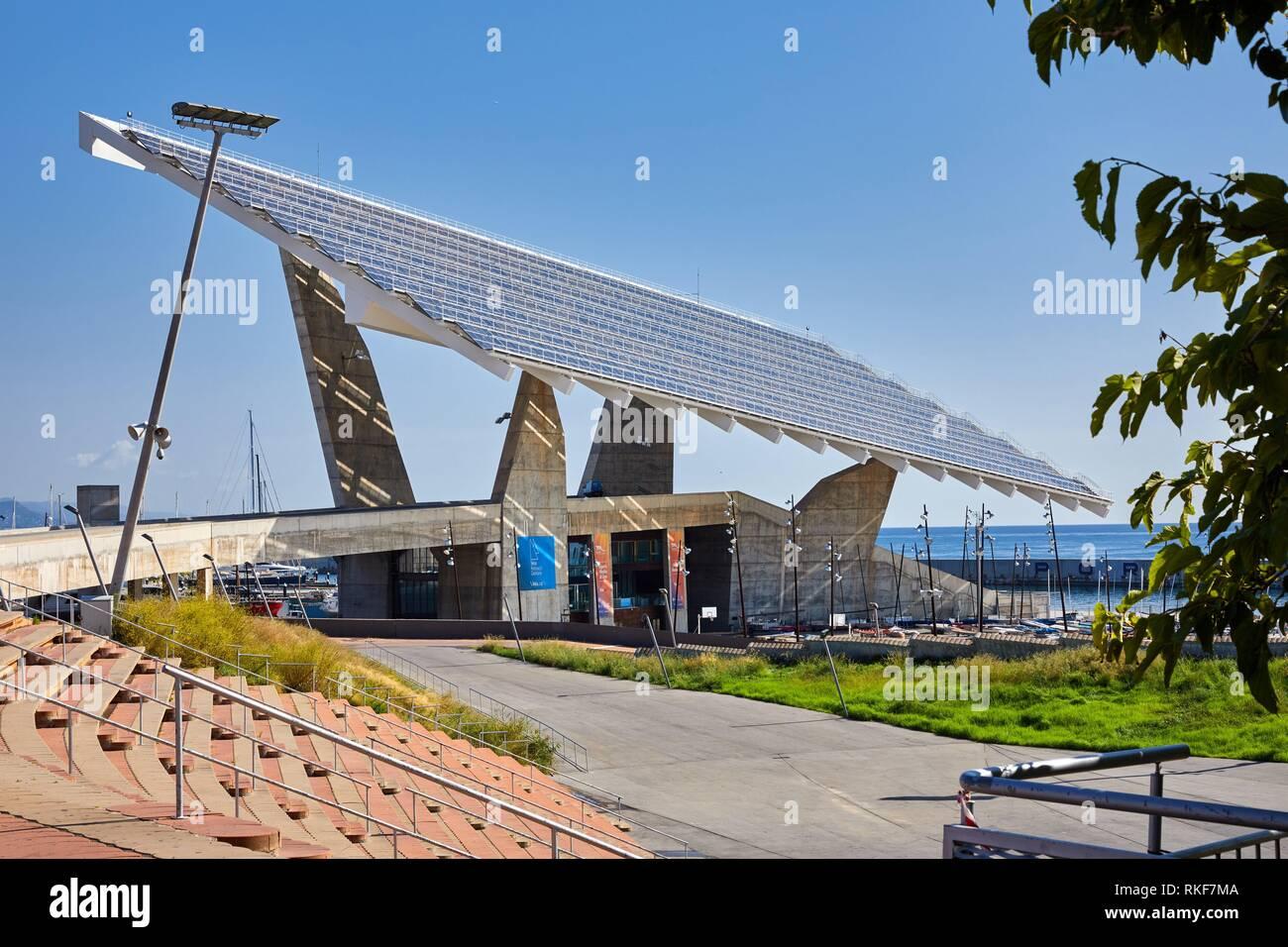 Photovoltaic pergola, by Elias Torres & José Antonio Martínez Lapeña, Forum, Barcelona, Catalunya, Spain, Europe - Stock Image