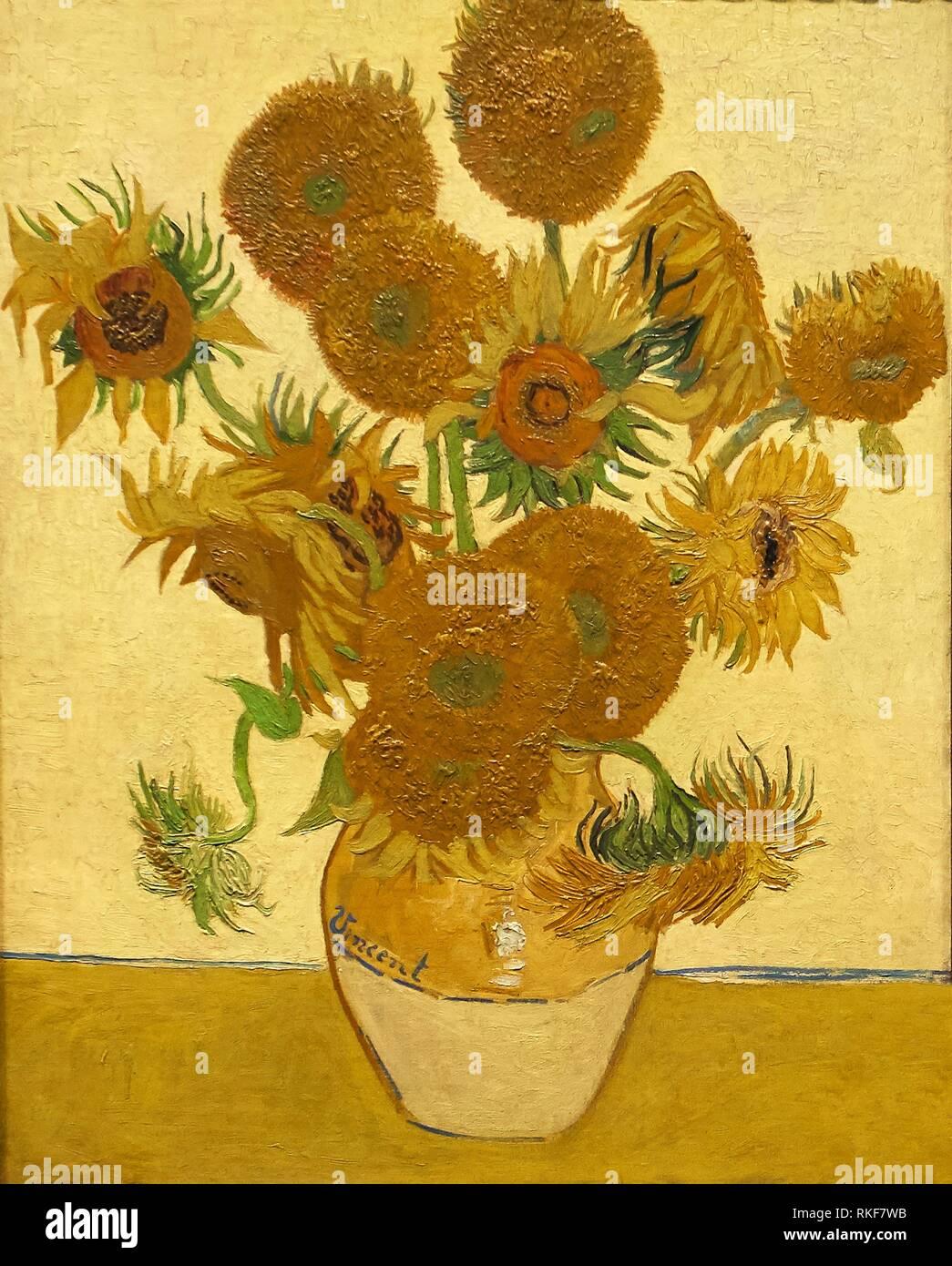 """""""Sunflowers"""", 1888, Vincent Van Gogh, National Gallery, London, England, UK. Stock Photo"