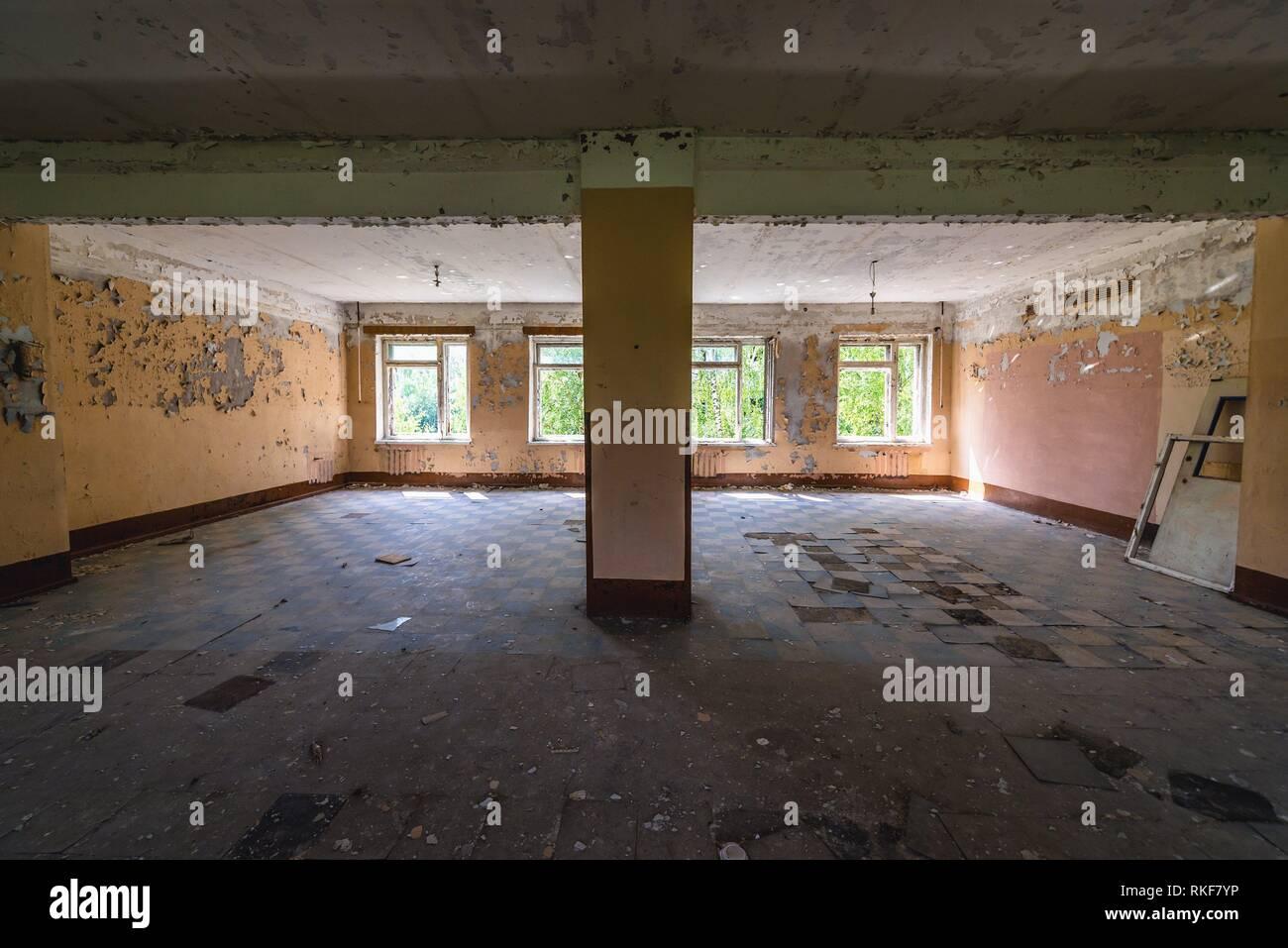 Interior of army barrack building in Skrunda-1 ghost town, former site of Soviet Dnepr radar station from near Skrunda town in Latvia. - Stock Image
