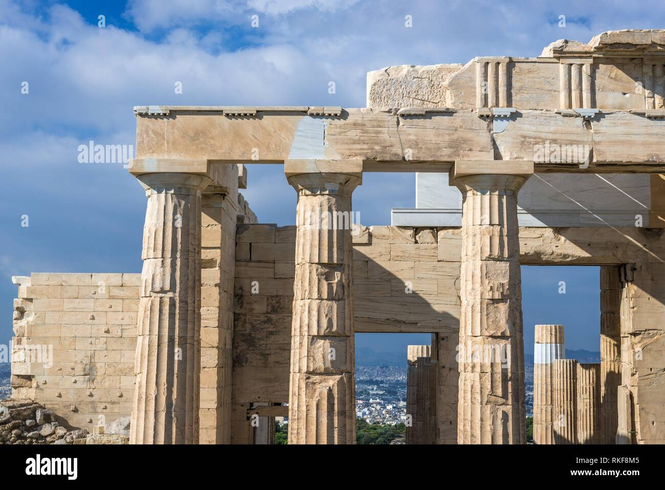 Facade of monumental gateway called Propylaea, entrance to the top of Acropolis of Athens city, Greece. - Stock Image