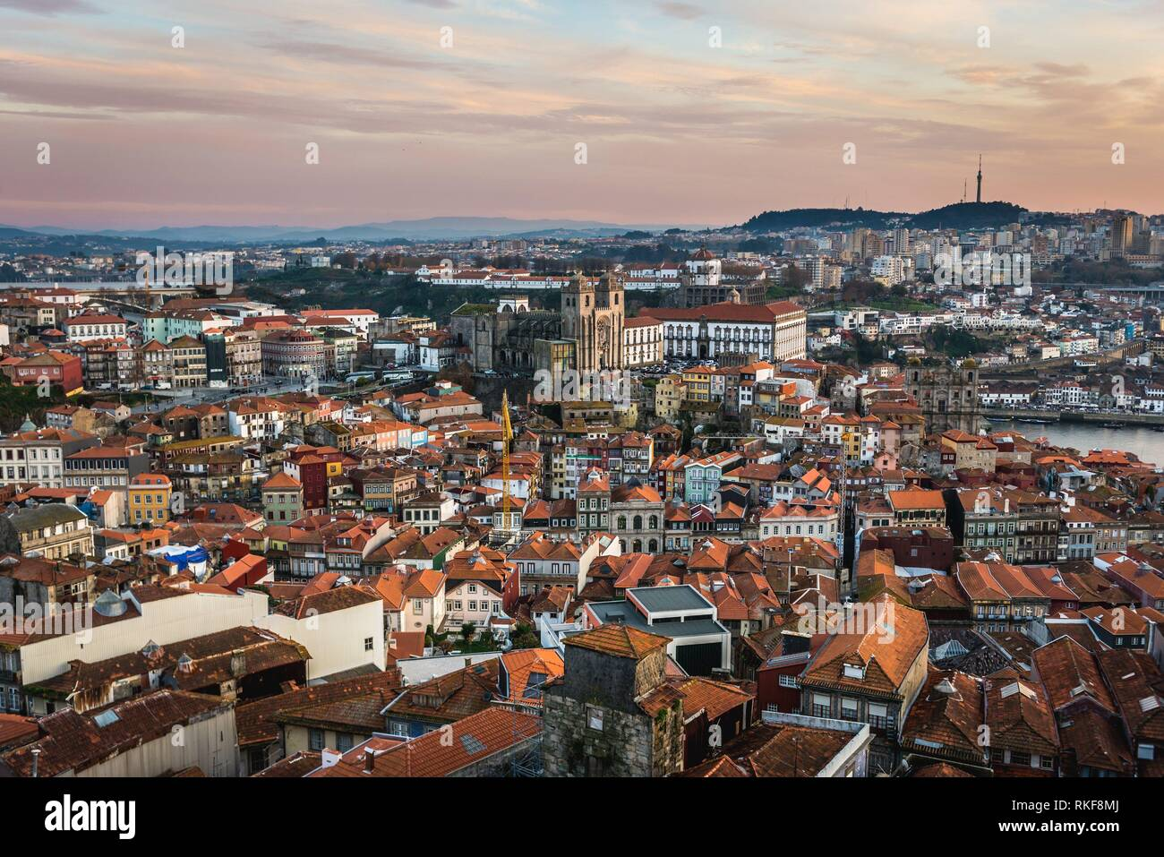 Aerial view from bell tower of Clerigos Church in Porto in Portugal with Se Cathedral and Vila Nova de Gaia on background. - Stock Image