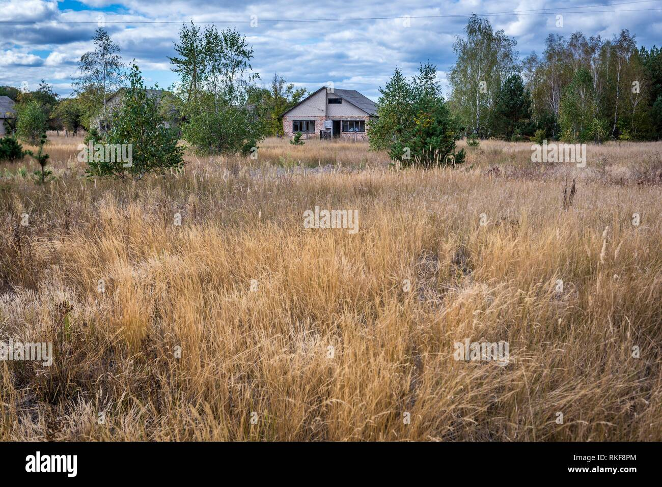 Mashevo abandoned village of Chernobyl Nuclear Power Plant Zone of Alienation area around nuclear reactor disaster in Ukraine. - Stock Image