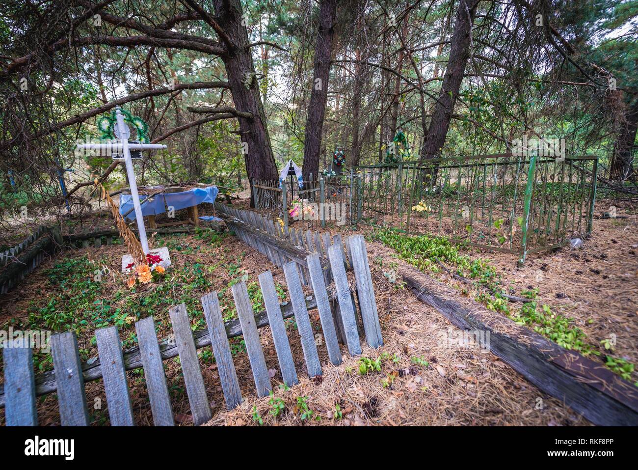 Cemetery in abandoned Zymovyshche village Chernobyl Nuclear Power Plant Zone of Alienation around nuclear reactor disaster in Ukraine. - Stock Image