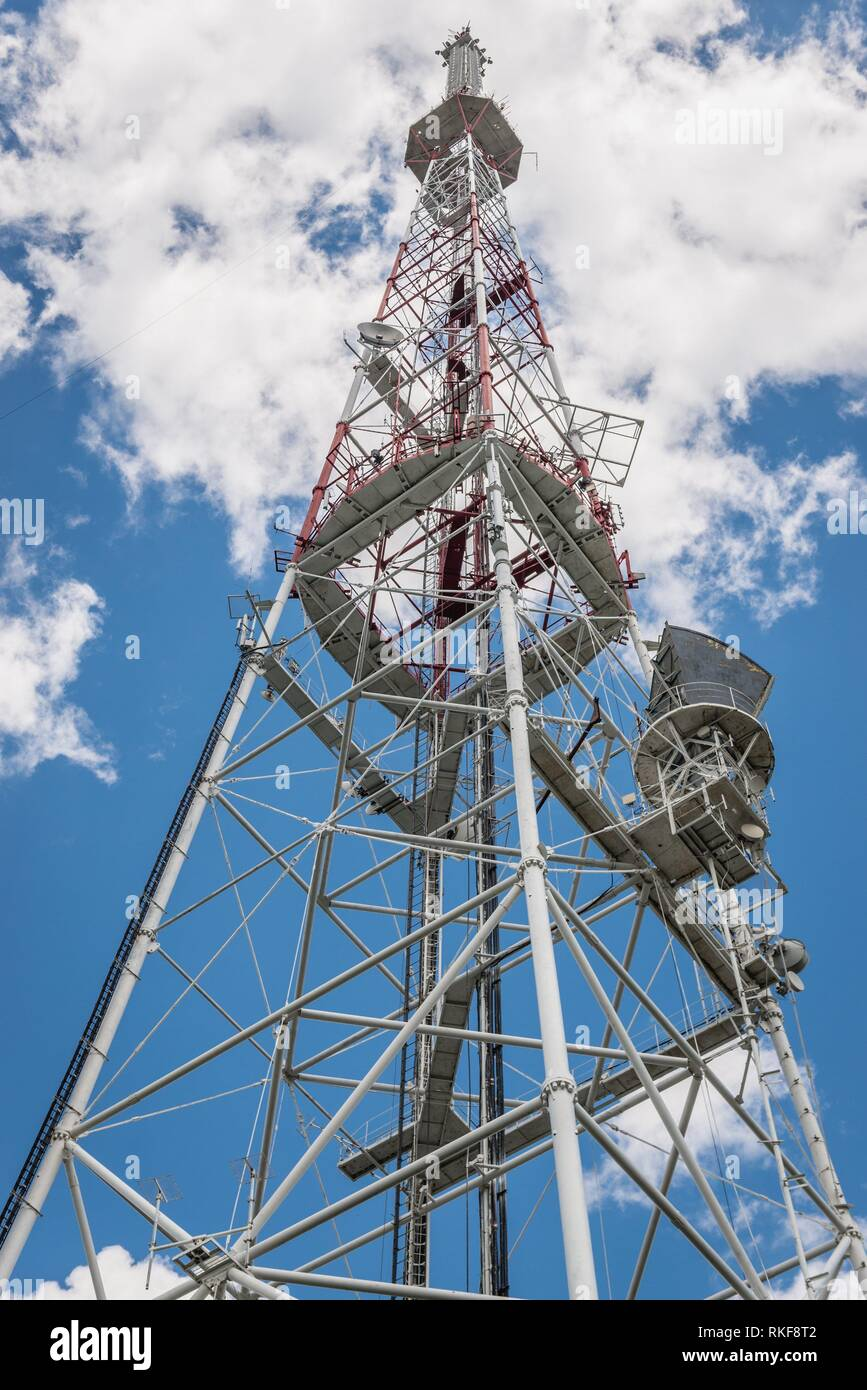 TV tower on a Castle Hill, highest structure in Lviv city, largest city in western Ukraine. Stock Photo