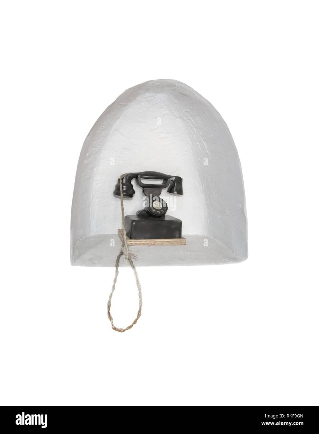 Retro vintage black landline telephone isolated on white. - Stock Image