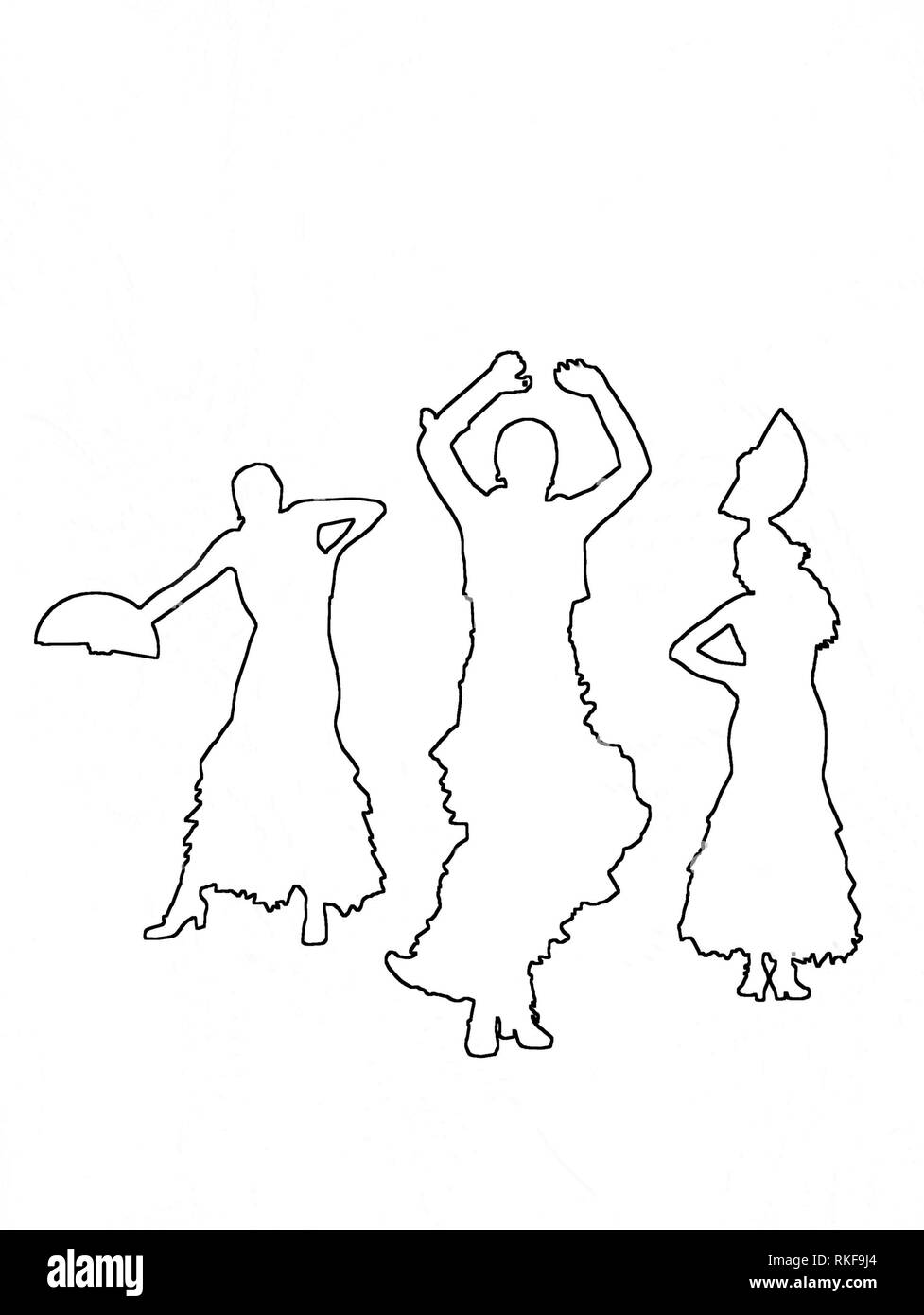 Silhouettes of three female flamenco dancers black contours on white abstract background illustration. - Stock Image