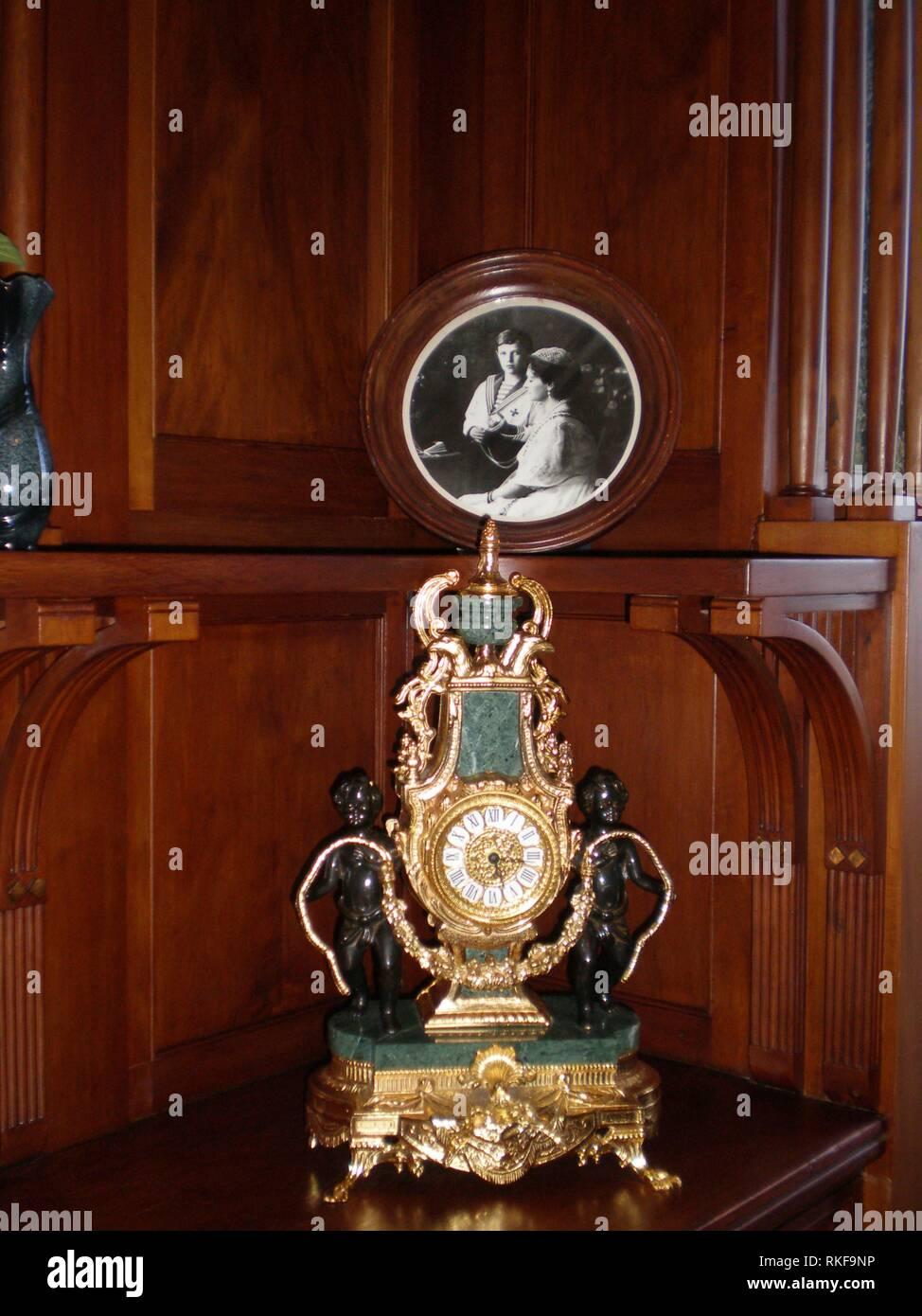 The clock in the Livadia Palace, the royal room. Livadiya, Crimea - Stock Image