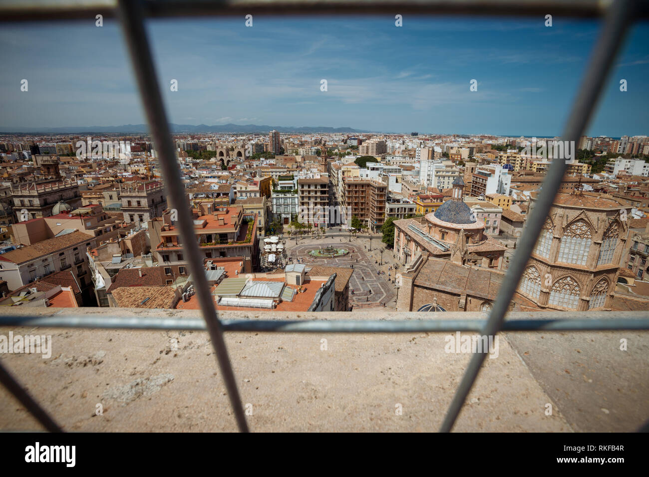 The view of the city from the top of the El Miguelete, the bell tower of the Valencia Cathedral in Valencia, Spain. Stock Photo