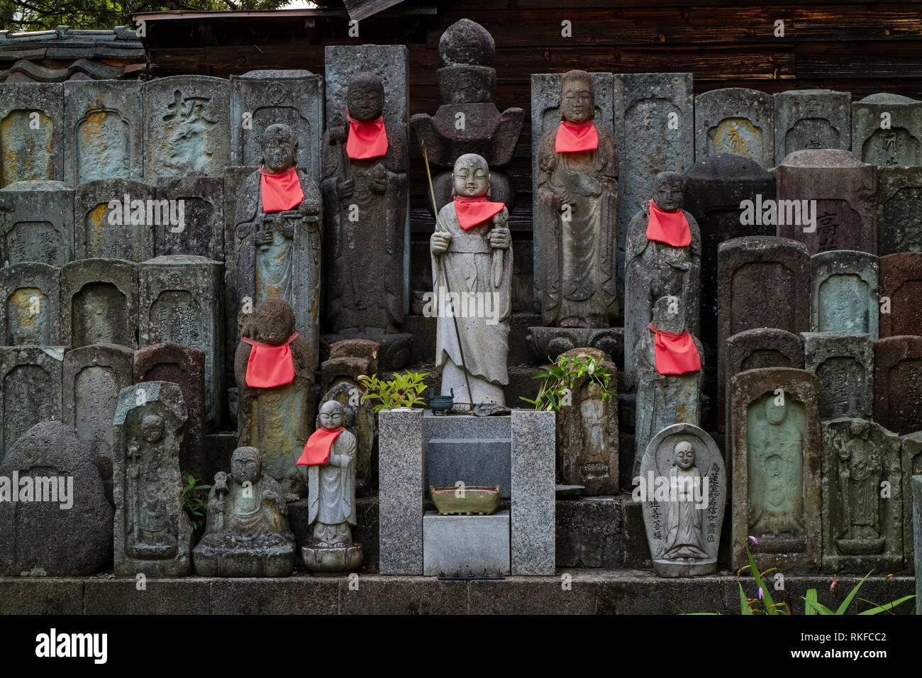 Traditional stone Jizo Bosatsu statues in Nagamachi Samurai District, Kanazawa. - Stock Image