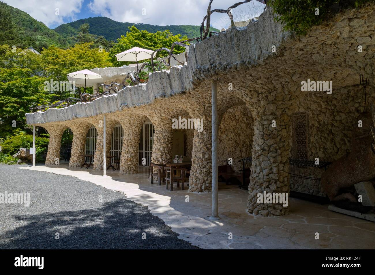 Exterior of the Kubota Itchiku Art Museum in the five lake area inspired by Gaudi. - Stock Image