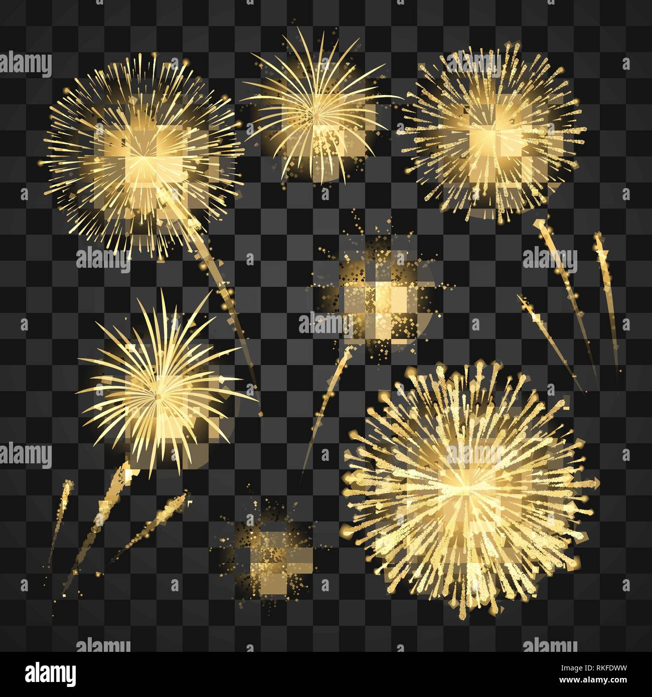 Yellow Festival fireworks. Colorful carnival fireworks holiday background. Vector illustration isolated on dark background Stock Vector