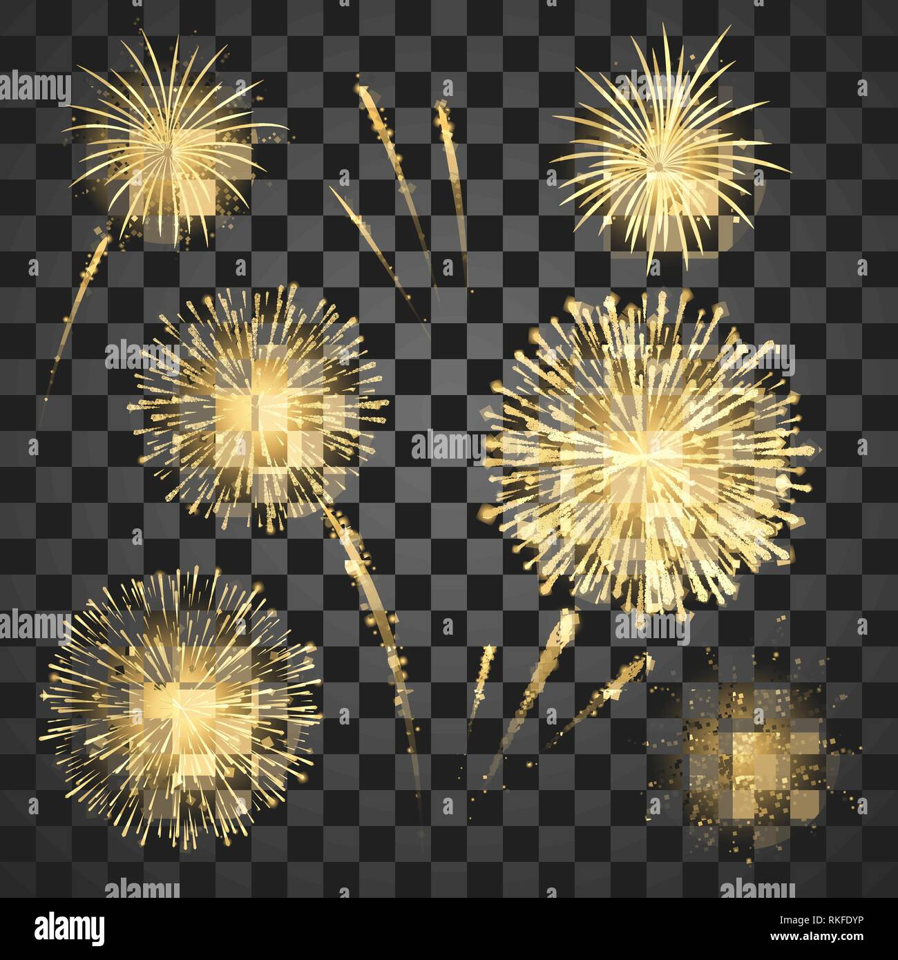 Gold Festival fireworks set. Colorful carnival fireworks holiday background. Vector illustration isolated on dark background Stock Vector