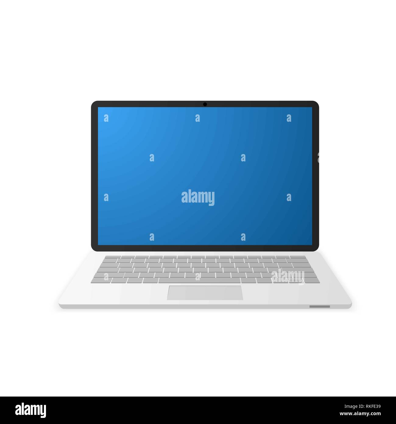 Laptop with empty blue screen. Notebook icon. Vector illustration - Stock Image