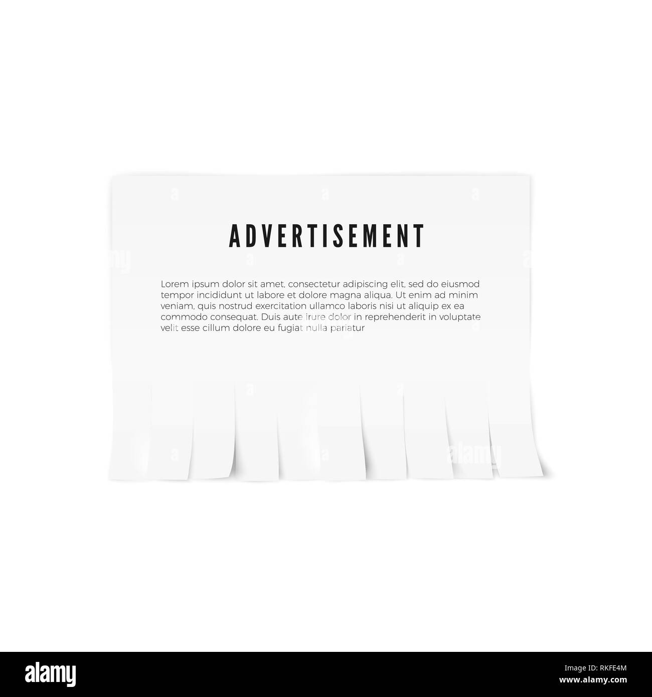 Tear-off paper template with advertisement text. Vector illustration - Stock Image