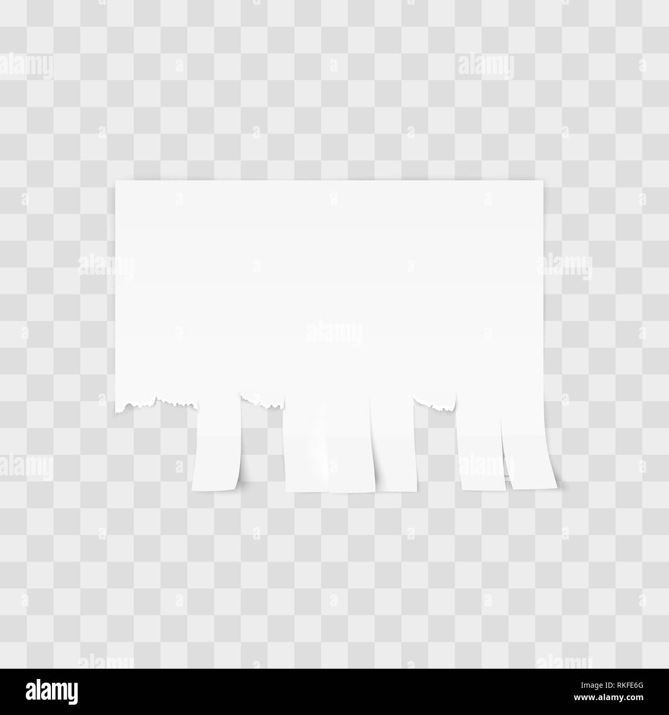 White advertisement Tear-off paper template on white background. Vector illustration - Stock Image