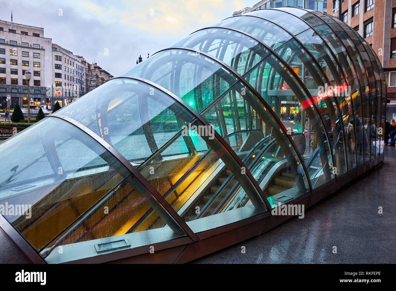 Entry of subway station in Bilbao projected by Norman Foster, Underground Tube, Metro Bilbao, Moyua Plaza, Bilbao, Bizkaia, Basque Country, Spain, - Stock Image