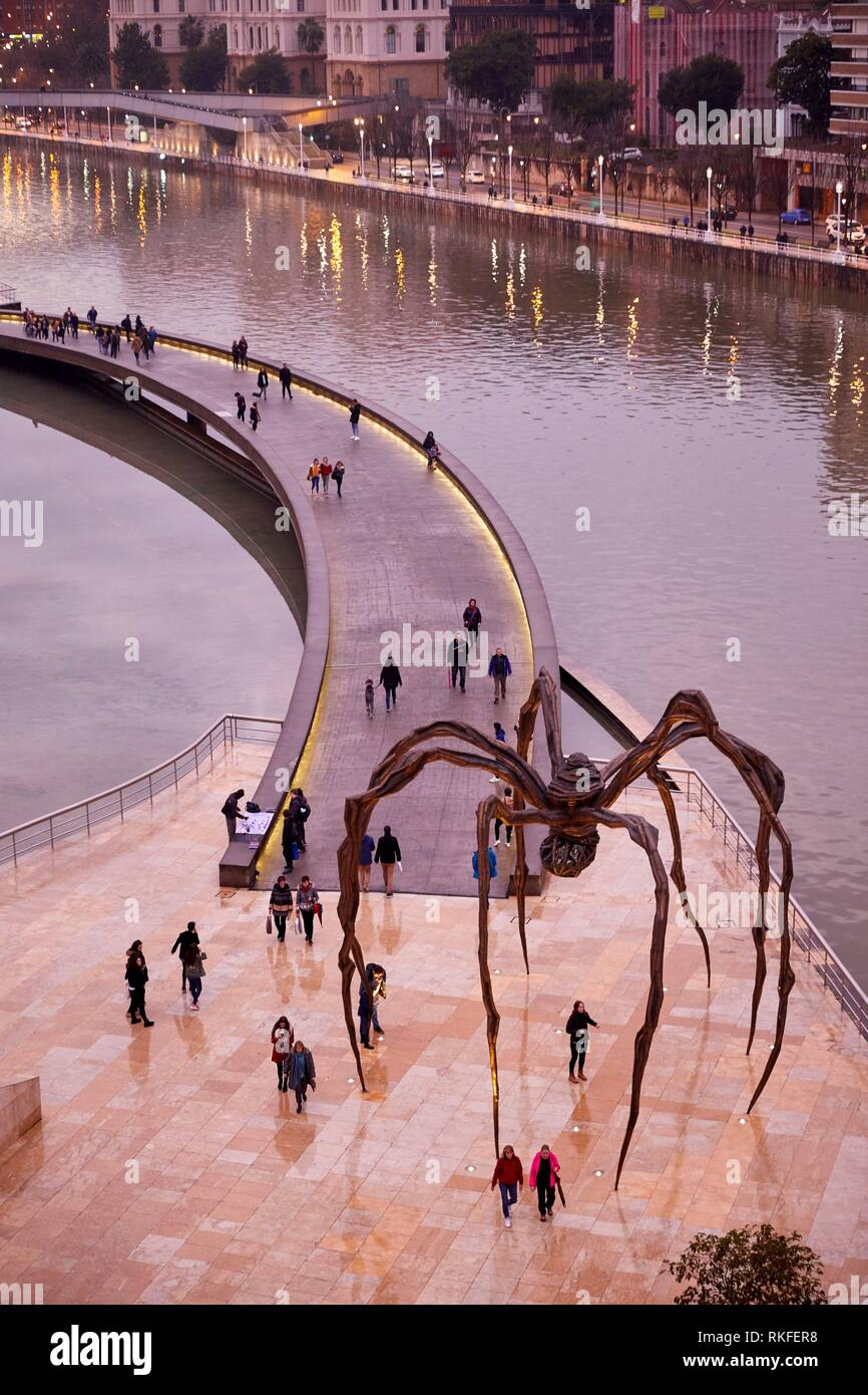 'Maman' sculpture by the French-American artist Louise Bourgeois, Guggenheim Museum, Bilbao, Bizkaia, Basque Country, Spain, Europe Stock Photo