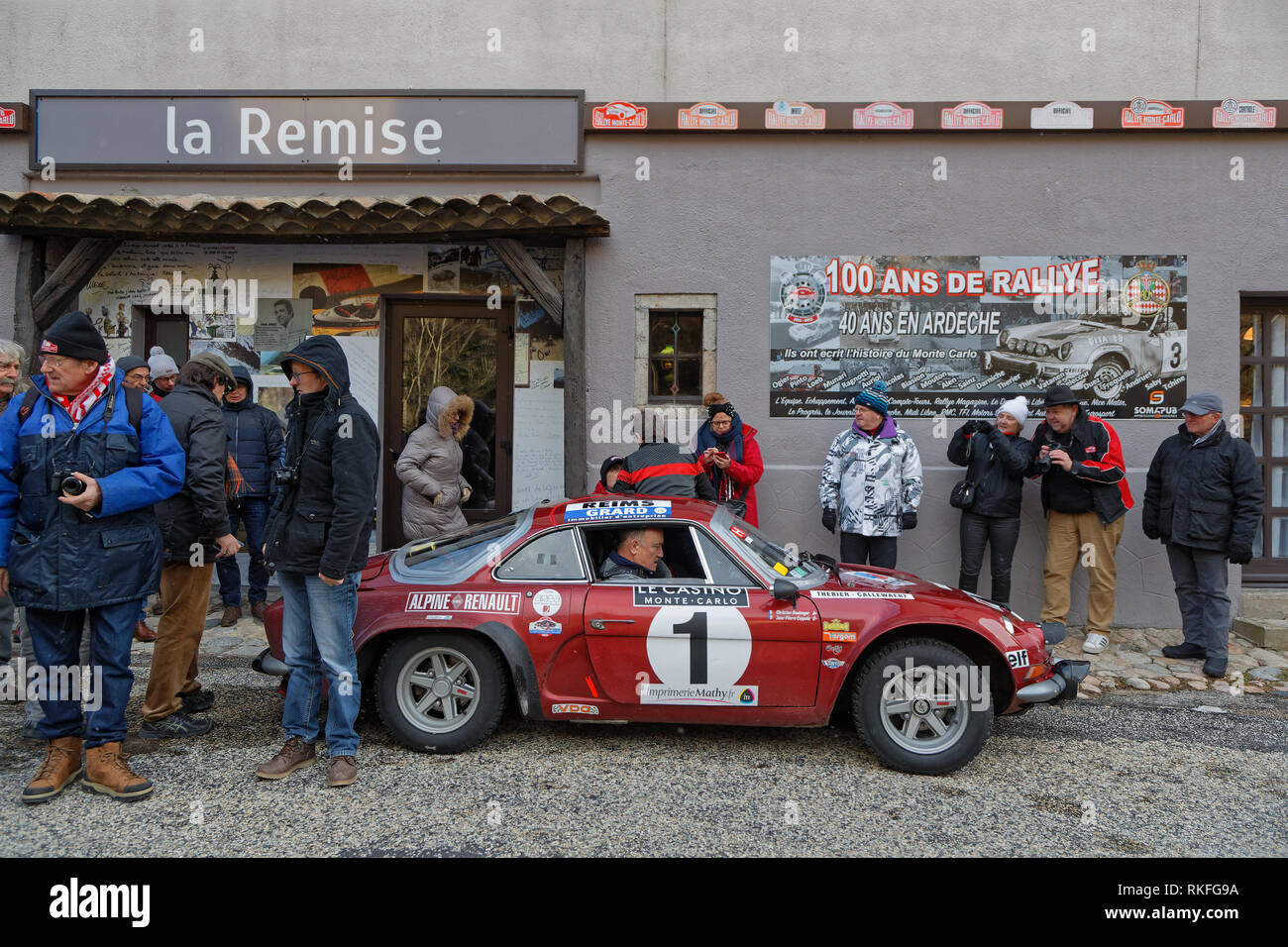 ANTRAIGUES, FRANCE, February 3, 2019 : Checkpoint for competitors at La Remise. Rallye Historique is reserved to those cars which have participated in - Stock Image