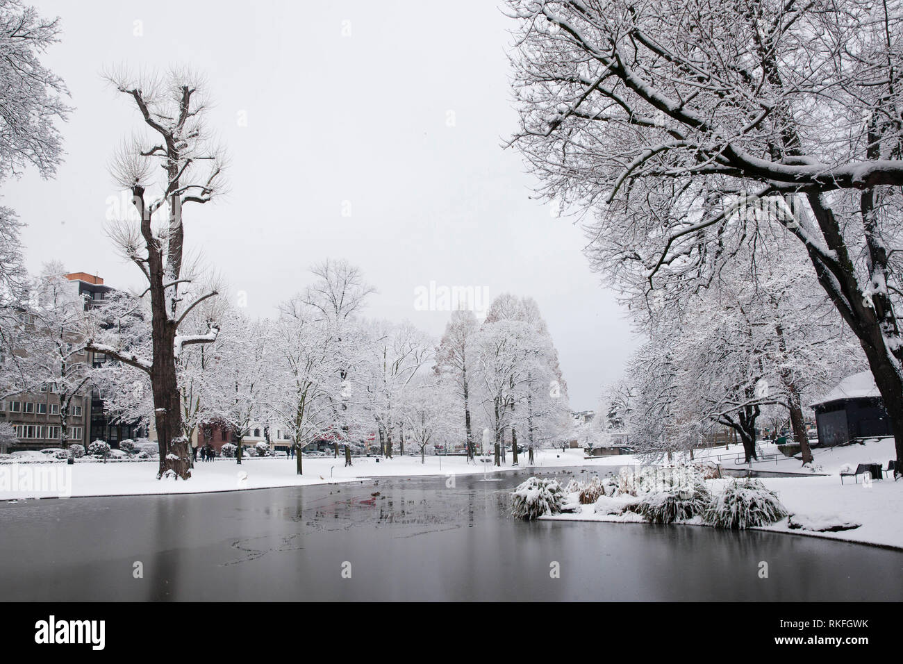 pond at the Theodor-Heuss-Ring near the square Ebertplatz, snow, winter, Cologne, Germany.  Weiher am Theodor-Heuss-Ring nahe Ebertplatz, Schnee, Wint Stock Photo