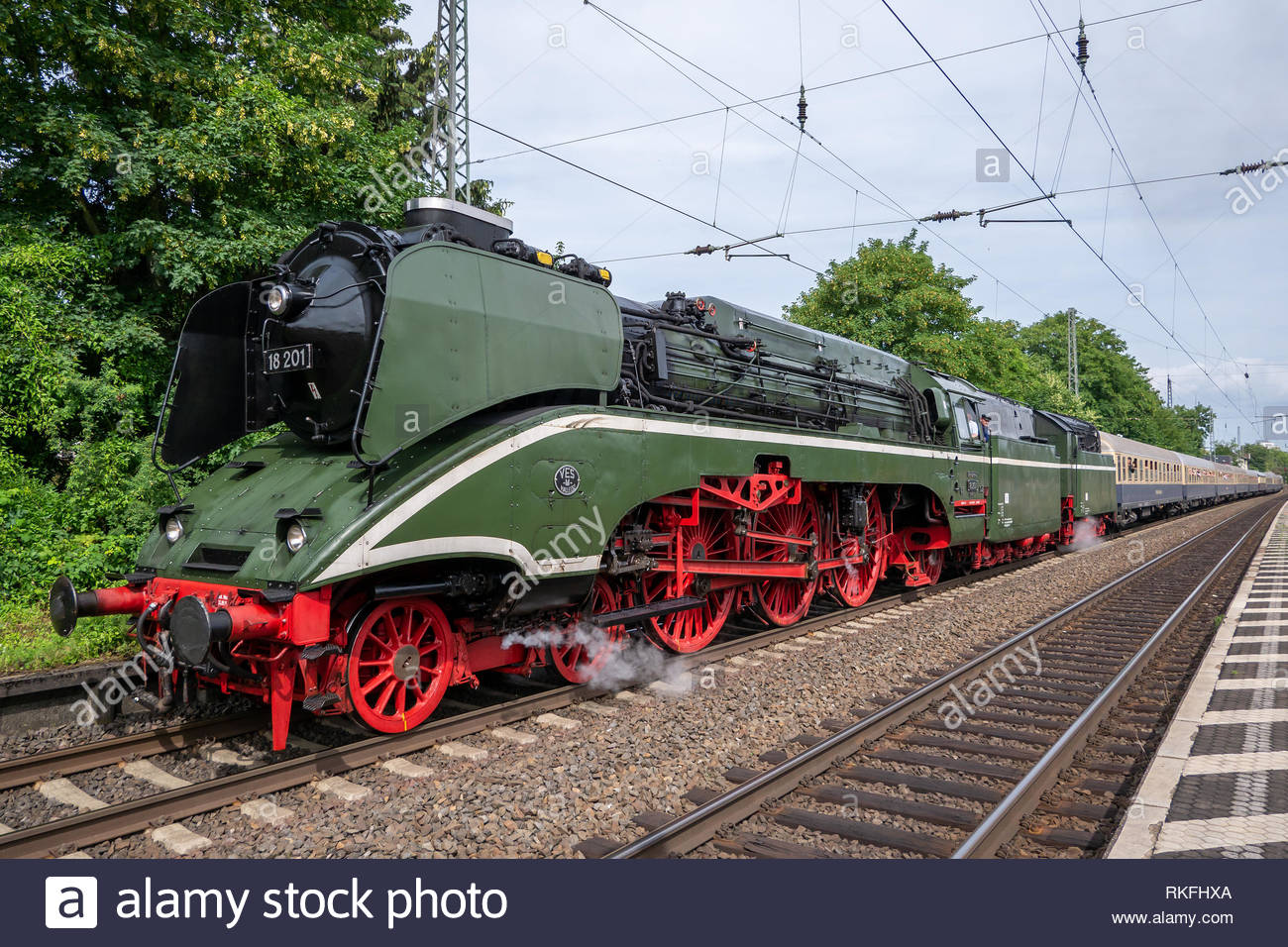 The highspeed steam locomotive 18 201 at the train station Bonn-Beuel - Stock Image