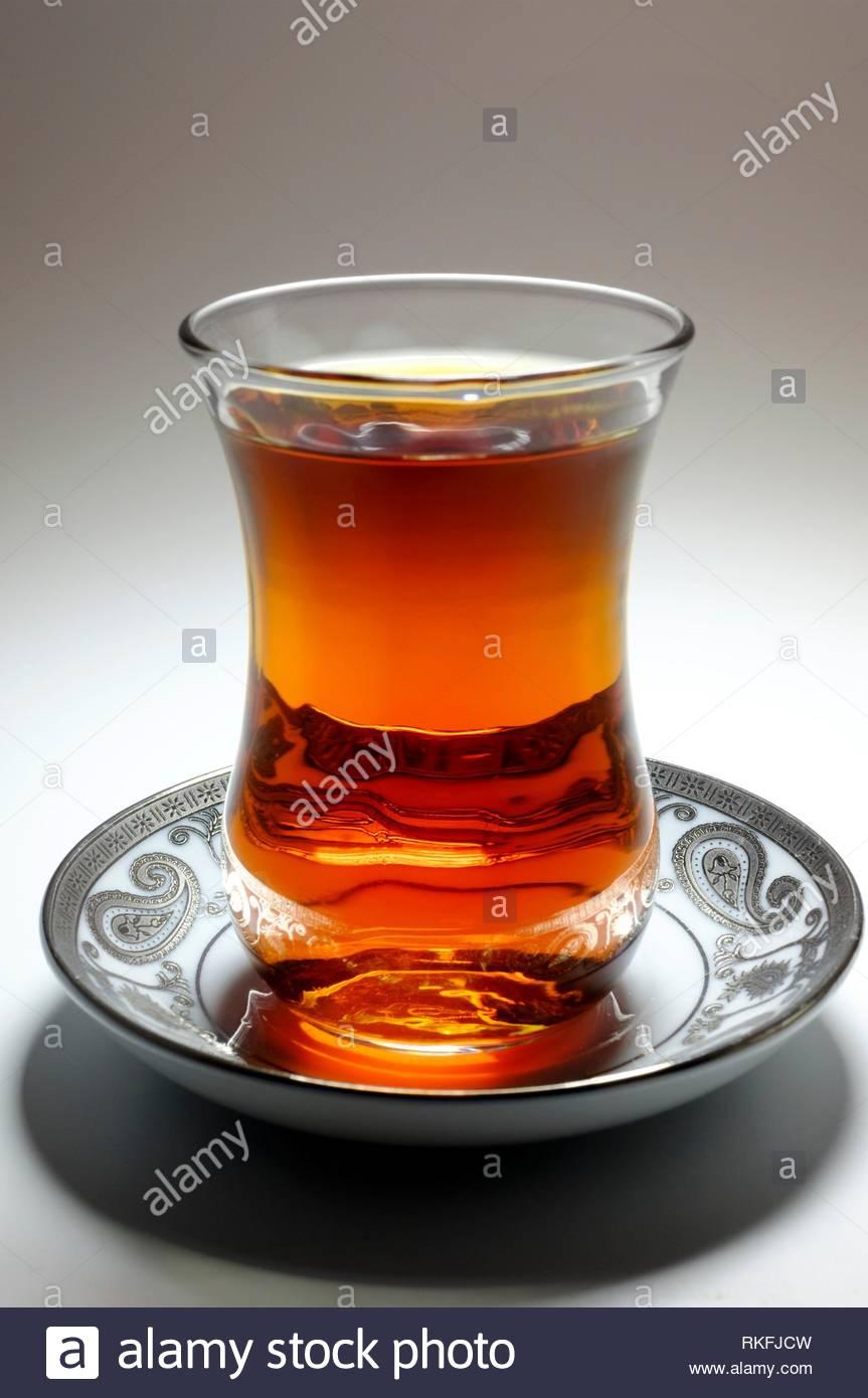 Tea in Azerbaijani traditional armudu glass. - Stock Image