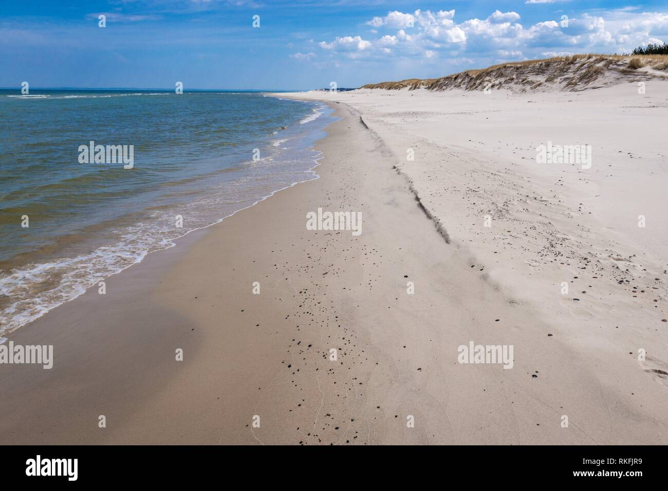 Wide beach in strict protection area of Slowinski National Park on the Baltic coast in Pomeranian Voivodeship, Poland. Stock Photo