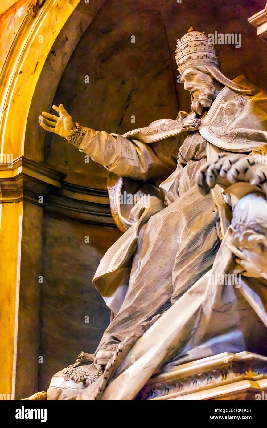 Pope Papal Blessing Sculpture Statue Saint Peter's Basilica Vatican Rome Italy. - Stock Image