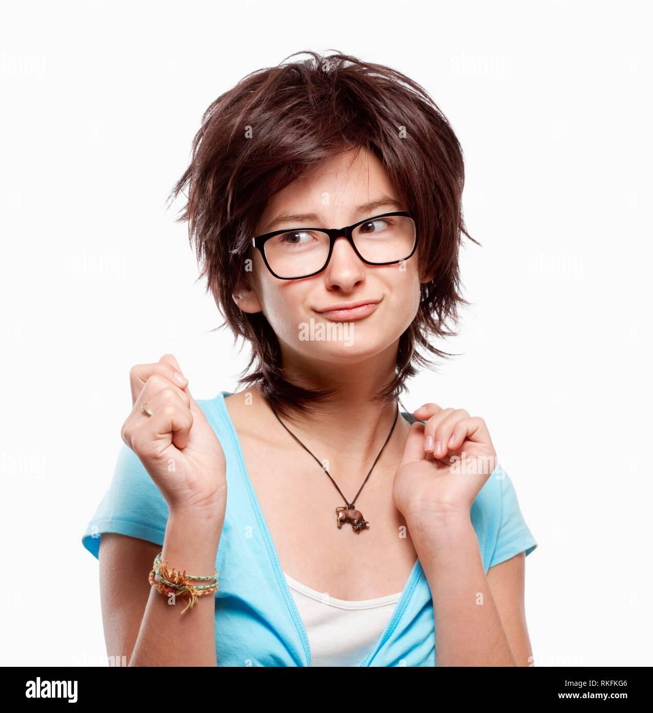 9c55ff335460f Girl Brown Hair Glasses Stock Photos   Girl Brown Hair Glasses Stock ...
