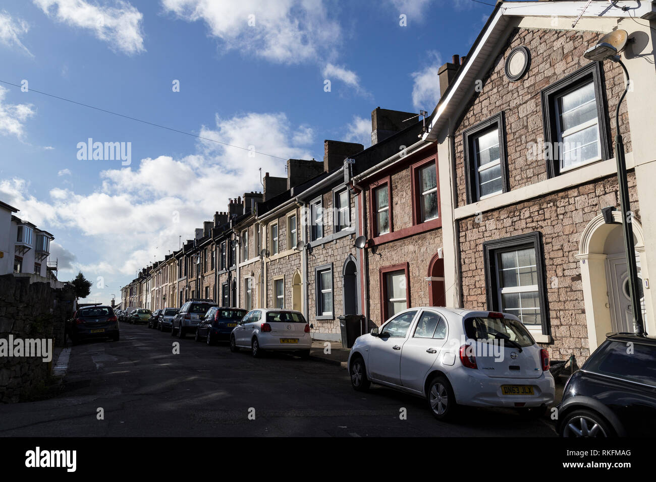 Britain's estate agents, terraced row Torquay,Housing Development, Housing Project, England, Village, English Culture, Summer, Community, Cottage, - Stock Image