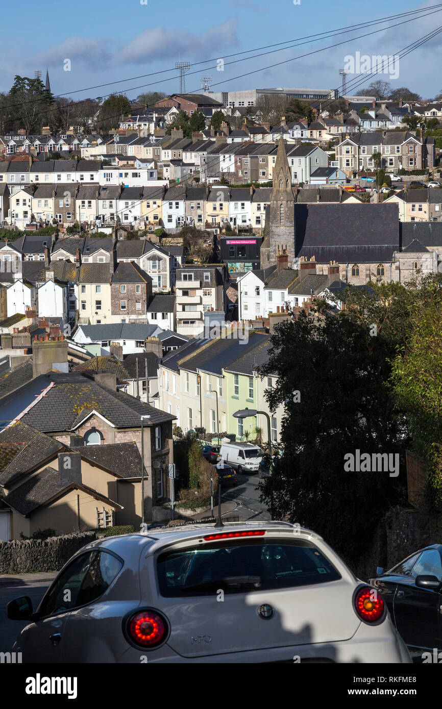 terraced row Torquay,Housing Development, Housing Project, England, Village, English Culture, Summer, Community, Cottage, Residential Buil - Stock Image