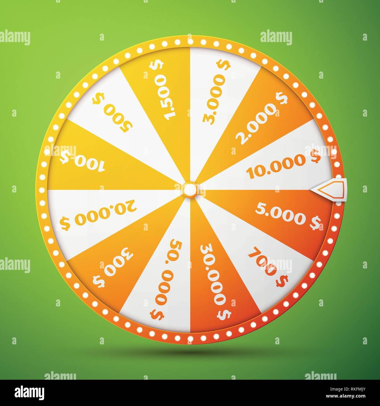 Colorful fortune wheel design. Realistic wheel of fortune illustration, isolated on green background. Vector illustration, EPS 10 Stock Vector