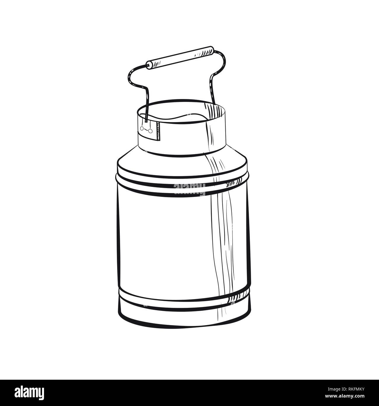 Sketch Can of milk. Fresh milk - country style vector sketch. Vintage aluminium milk. - Stock Image