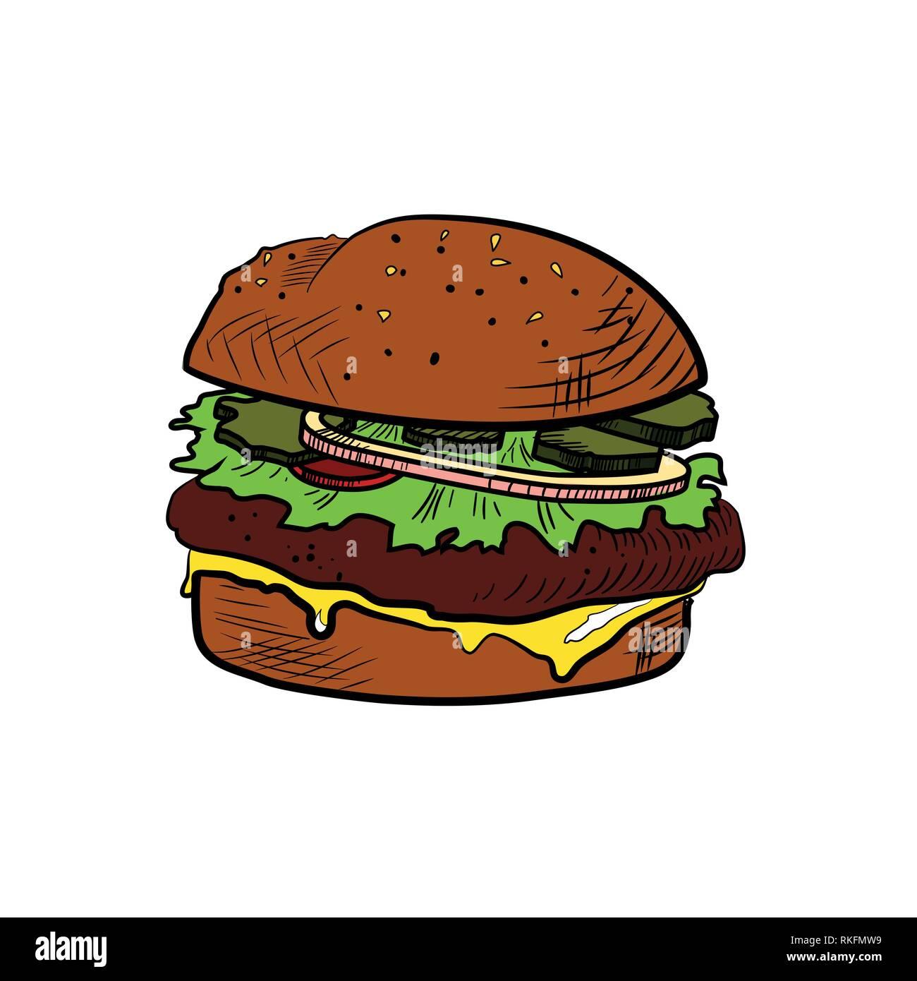 Hand drawn illustration of Color Sketch cheeseburger. Vector illustration, EPS 10 - Stock Vector